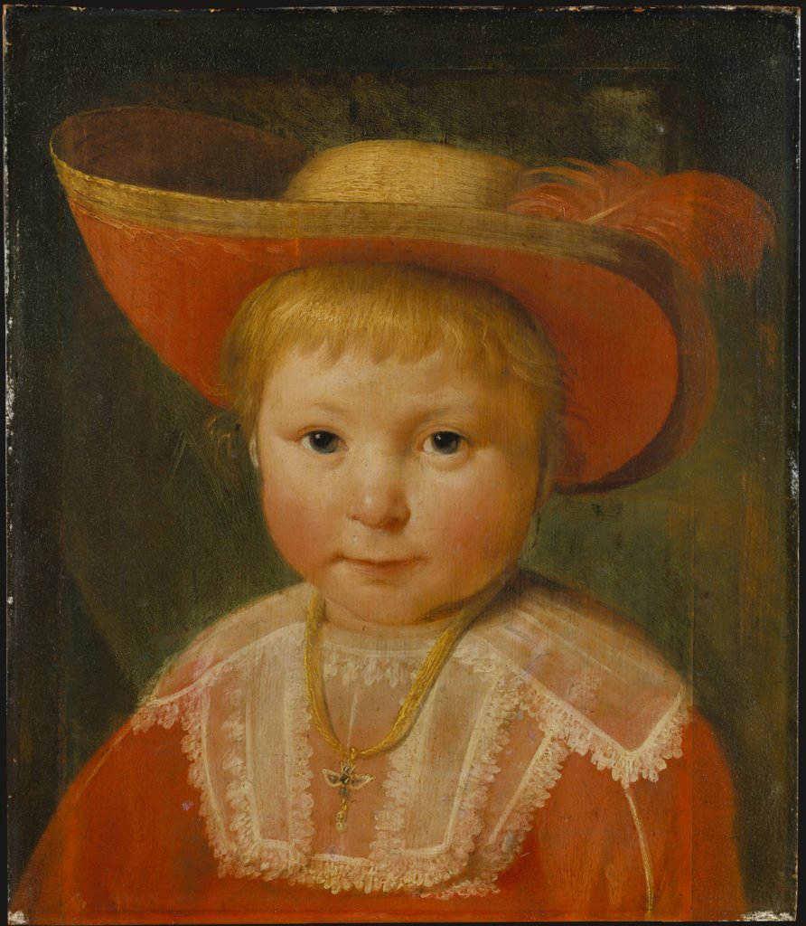 Portrait of a Child with a Red Lined Straw Hat, Pieter Soutman   ?