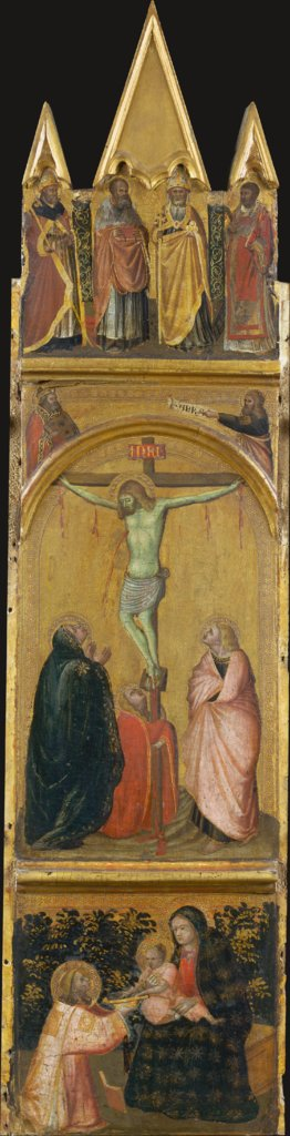 Crucifixion, Virgin and Child with a Deacon, Pietro Lorenzetti  workshop
