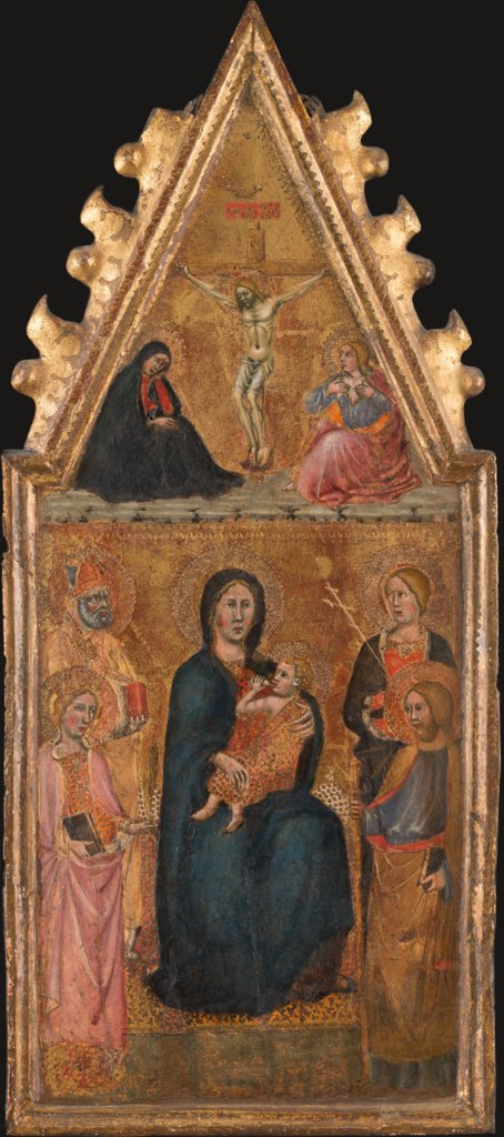 Enthroned Madonna with Child and four saints, above the Crucifixion with Mary and John Ev., Cristoforo di Bindoccio, Meo di Pero