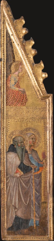 St. Abba Antonius, female saint with a torch (?), The Annunciation Angel, Cristoforo di Bindoccio, Meo di Pero