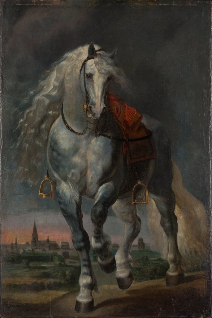 White Horse trotting over a flat Landscape before a City, Peter Paul Rubens  succession, Anthony van Dyck  succession