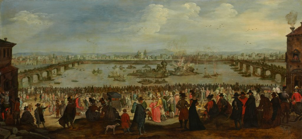 The Mock Battle between the Weavers' and the Dyers' Guilds on the Arno in Florence on 25 July 1619, Dutch Master around 1619, nach Jacques Callot