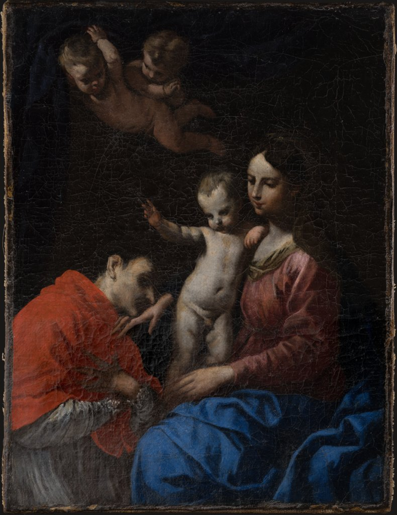Madonna and Child, worshipped by St Carlo Borromeo, Simone Cantarini