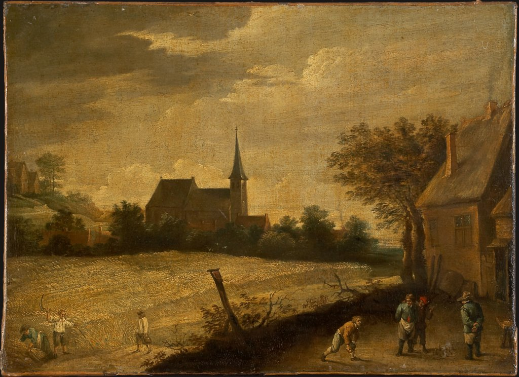 Landscape with Peasants Mowing and Bowling, copy after David Teniers the Younger