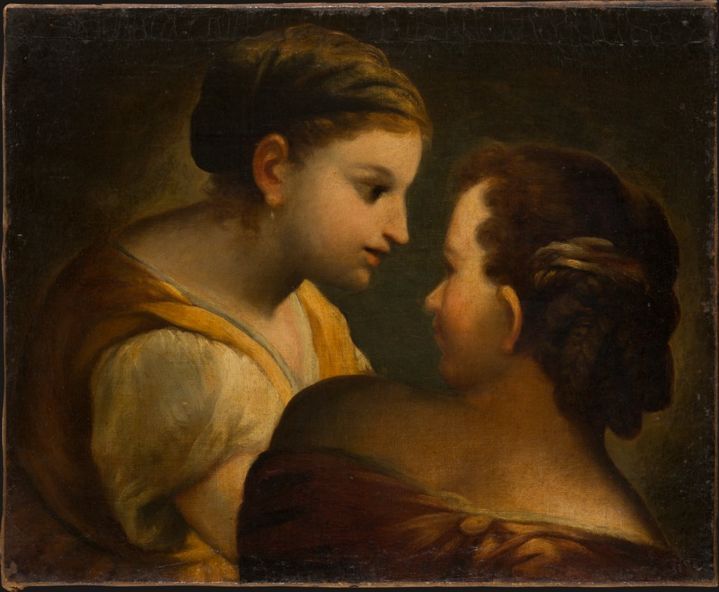 Two Girls in Conversation, German Master of the 18th Century