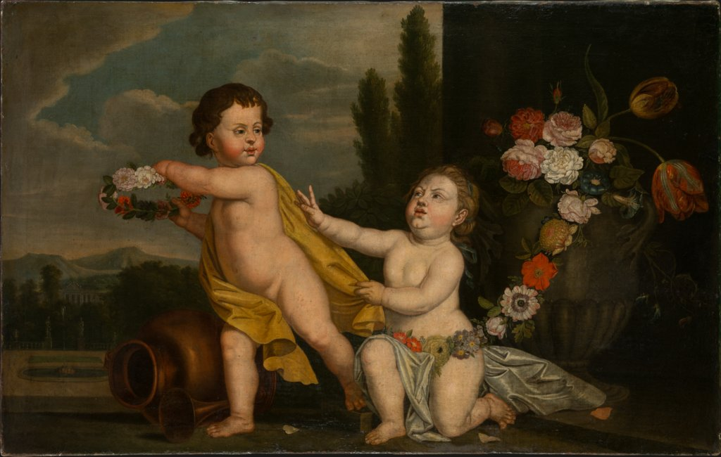 Two Putti with Garlands of Flowers, German Master of the 18th Century
