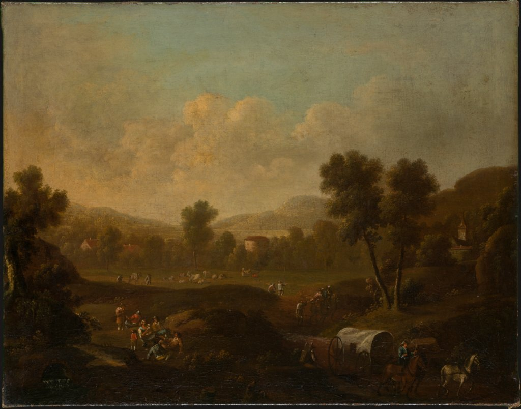 Mountainous Landscape with Figures Resting and Covered Wagon