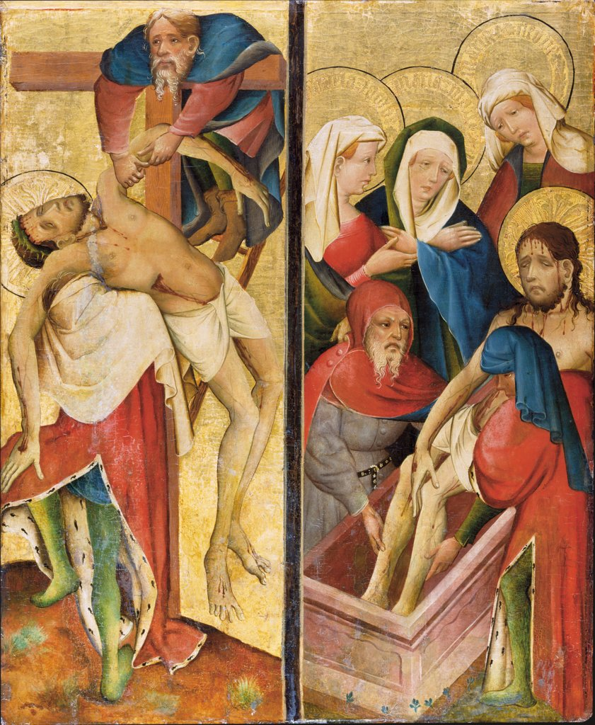 Deposition and Entombment of Christ, Master of the Middle Rhine ca. 1420