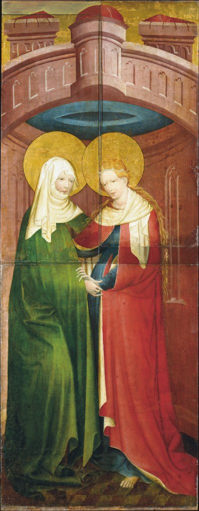 The Visitation (exterior wing of the altarpiece allegedly from Saint Peter's, Frankfurt), Master of the Middle Rhine ca. 1420