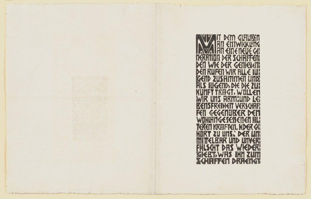 Manifesto of the Brücke artists' group (text), Ernst Ludwig Kirchner