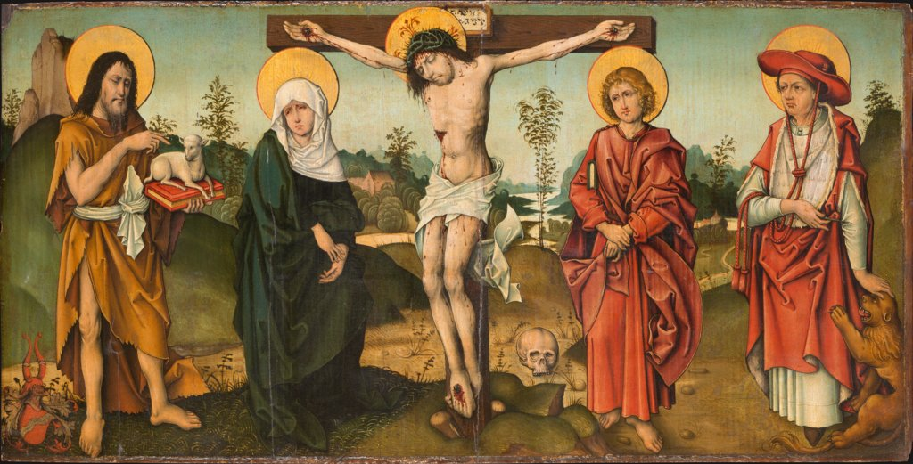 The Crucifixion with St John the Baptist and St Jerome, Master of the Breidenbach Epitaph  and workshop