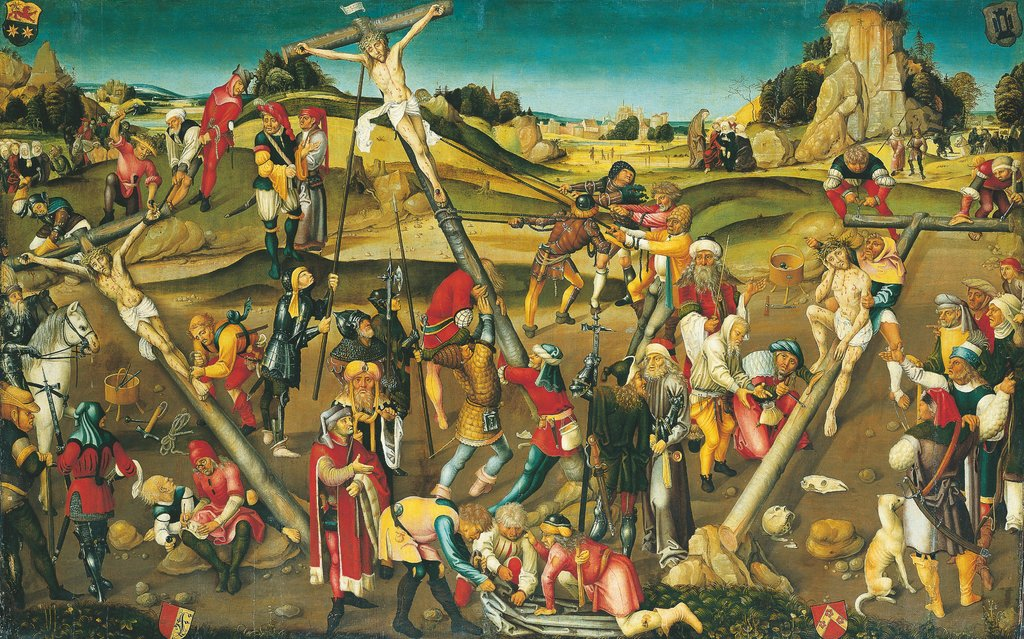 The Preparation of the Cross: Christ Resting, Christ Being Nailed to the Cross, and Erection of the Cross, Strasbourg Master ca. 1510/20