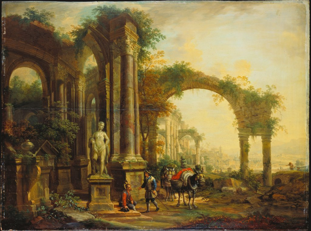 Landscape with Ancient Ruins and Two Pack Mules, Christian Georg Schütz the Elder