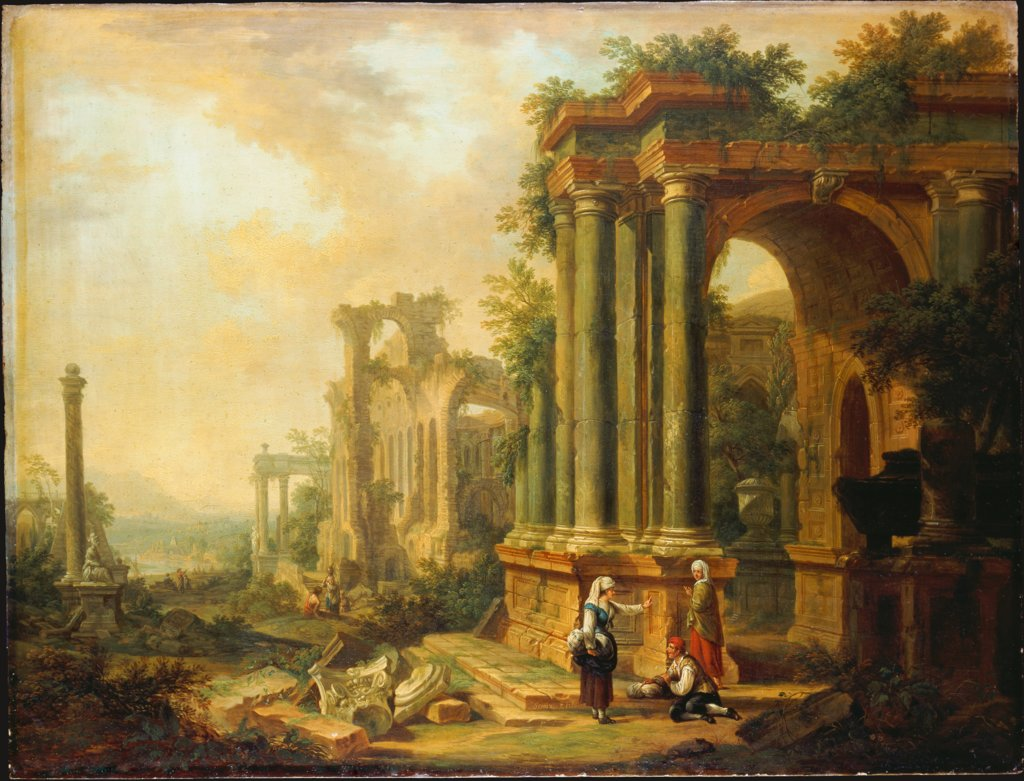 Landscape with Ancient Ruins and a Column, Christian Georg Schütz the Elder