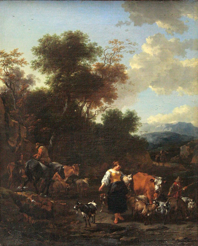 Italian Landscape with Shepherds at a River, Nicolaes Berchem