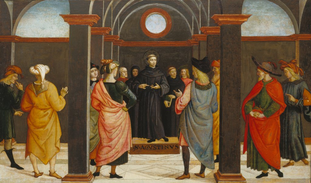 Saint Augustine disputing with the heretic Fortunatus, Umbrian Master ca. 1500