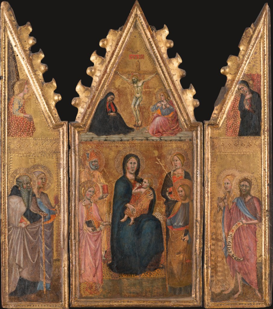 Triptych of the Madonna with the Child and Saints, Crucifixion, four saints and the Annunciation to Mary, Cristoforo di Bindoccio, Meo di Pero