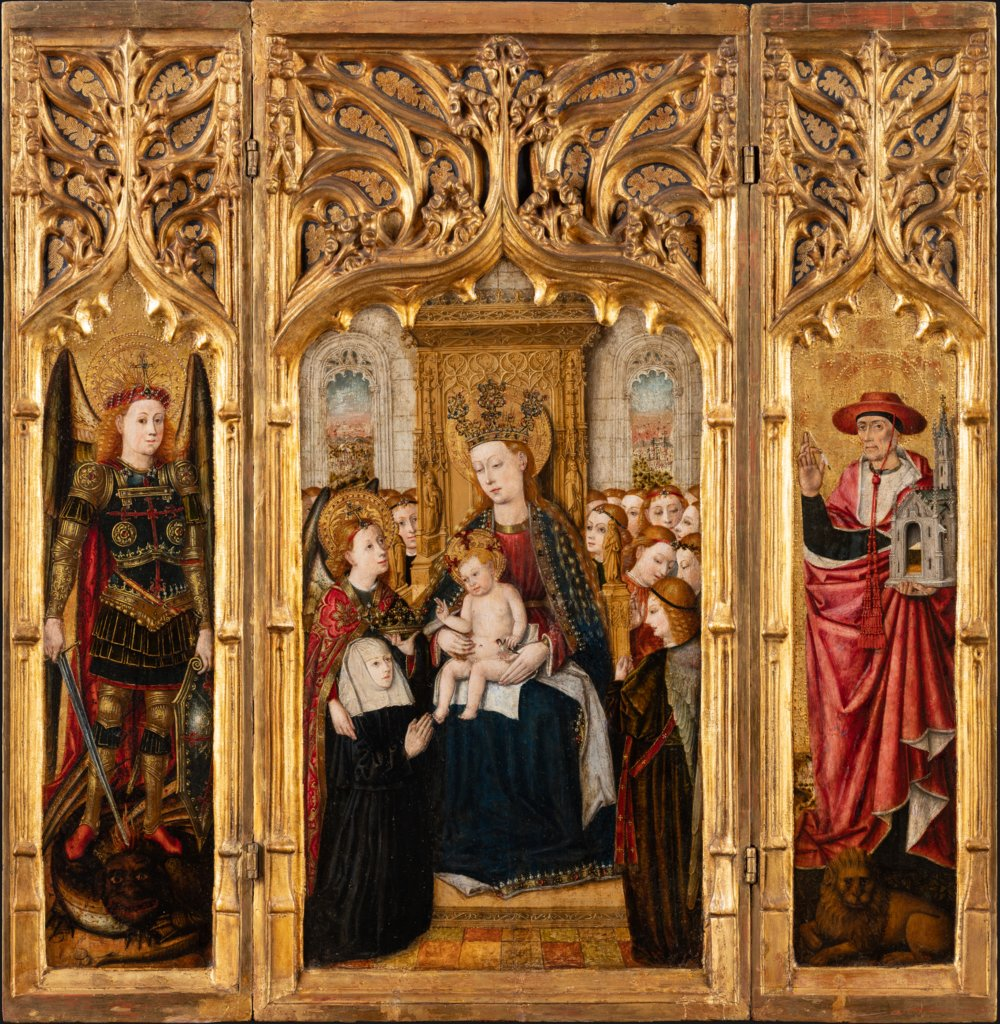 Triptych with Virgin and Child Enthroned, Jacomart, Juan Rexach  workshop