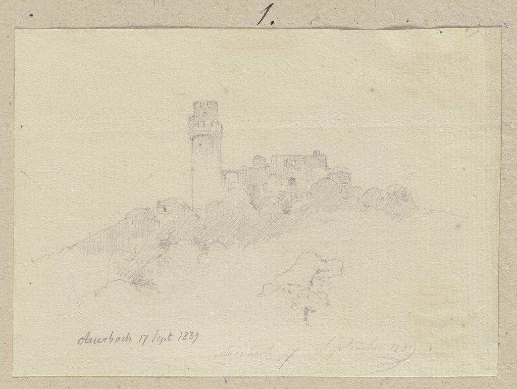 Castle ruins of Auerbach Castle, Carl Theodor Reiffenstein
