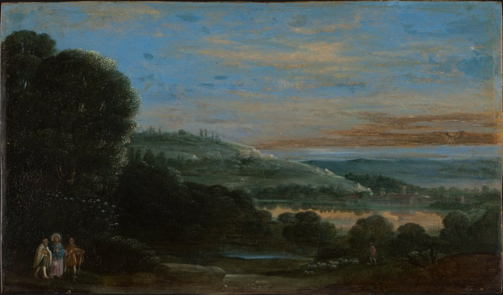 Landscape with the Walk to Emmaus, style of Adam Elsheimer, Johann König   ?