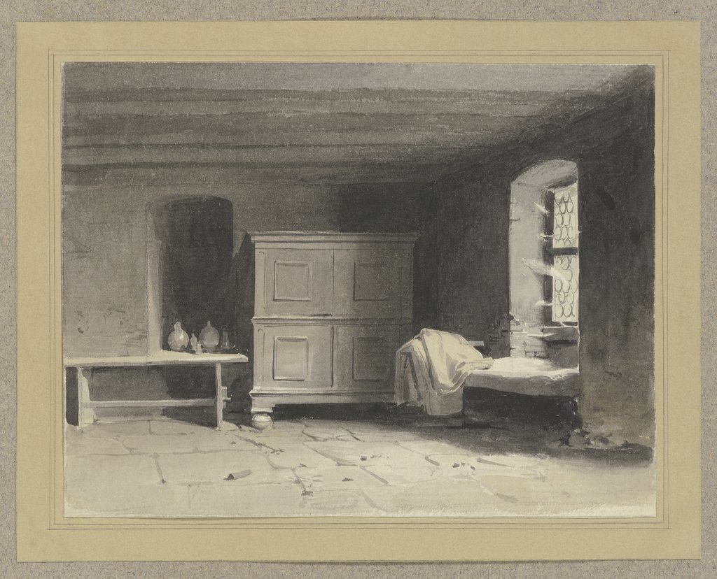 Interior of a sleeping chamber, Carl Theodor Reiffenstein
