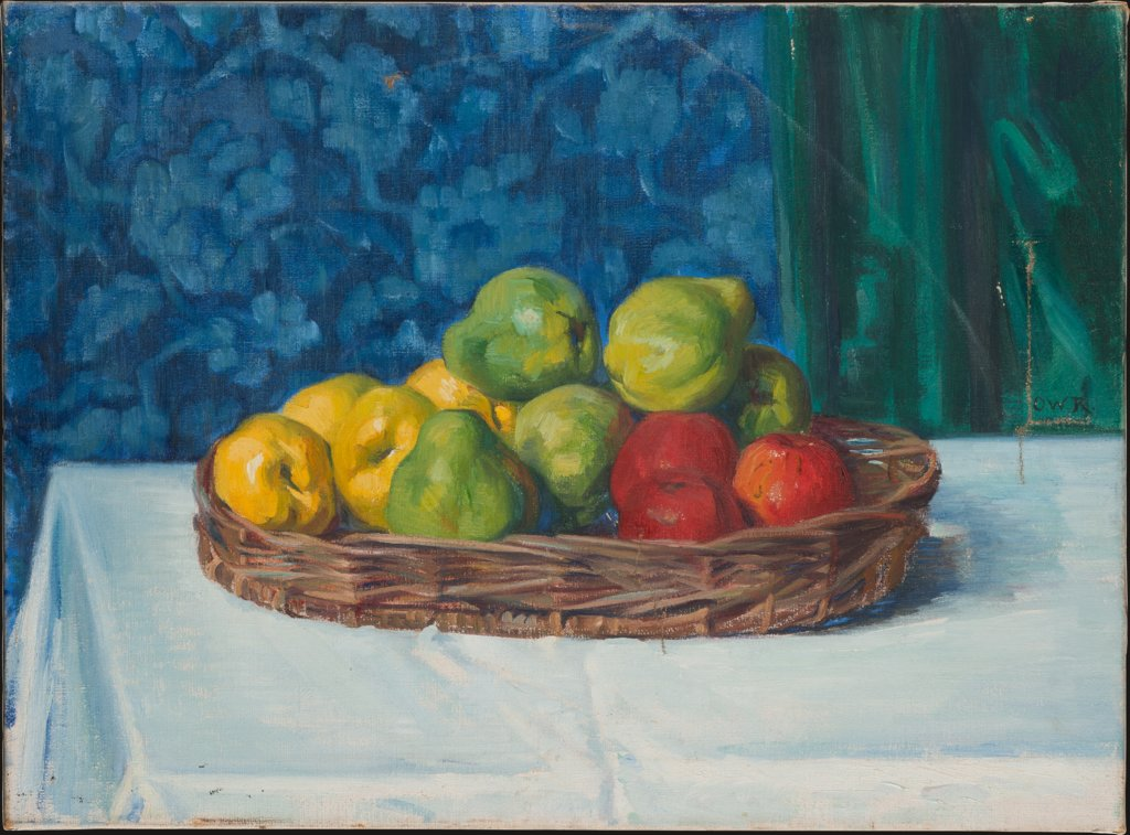 Still Life: Basket with Fruit on a Table in front of a Curtain and Wallpaper, Ottilie W. Roederstein