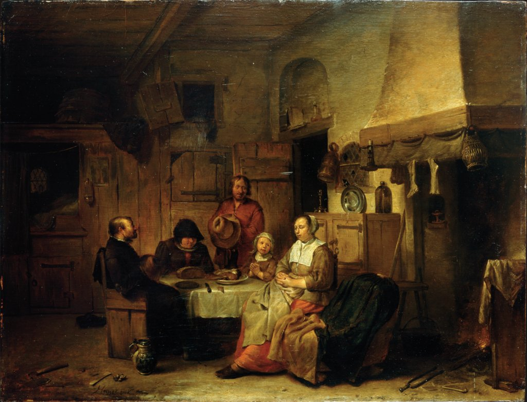 A Family Praying at the Midday Meal, Egbert Jaspersz. van Heemskerck