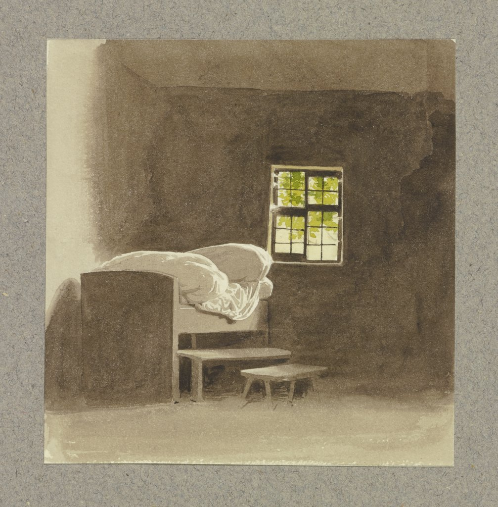 Chamber with a bed, Carl Theodor Reiffenstein