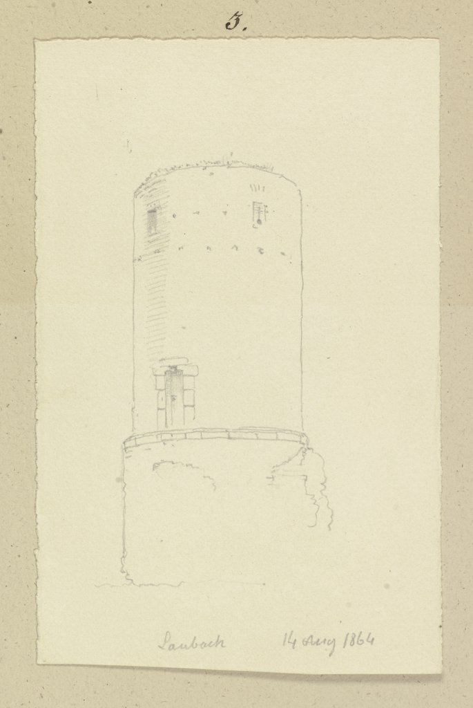 Round tower in Laubach, Carl Theodor Reiffenstein