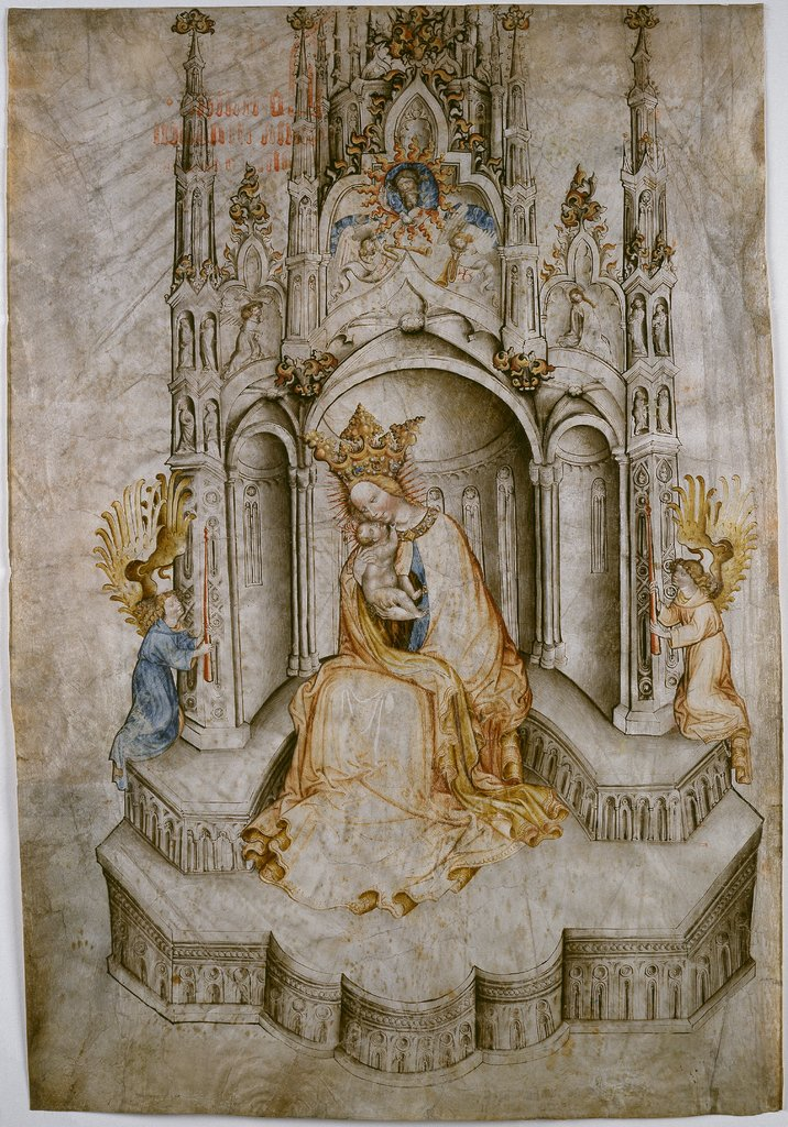 Madonna Enthroned, with Angels, Tyrolean, 15th century
