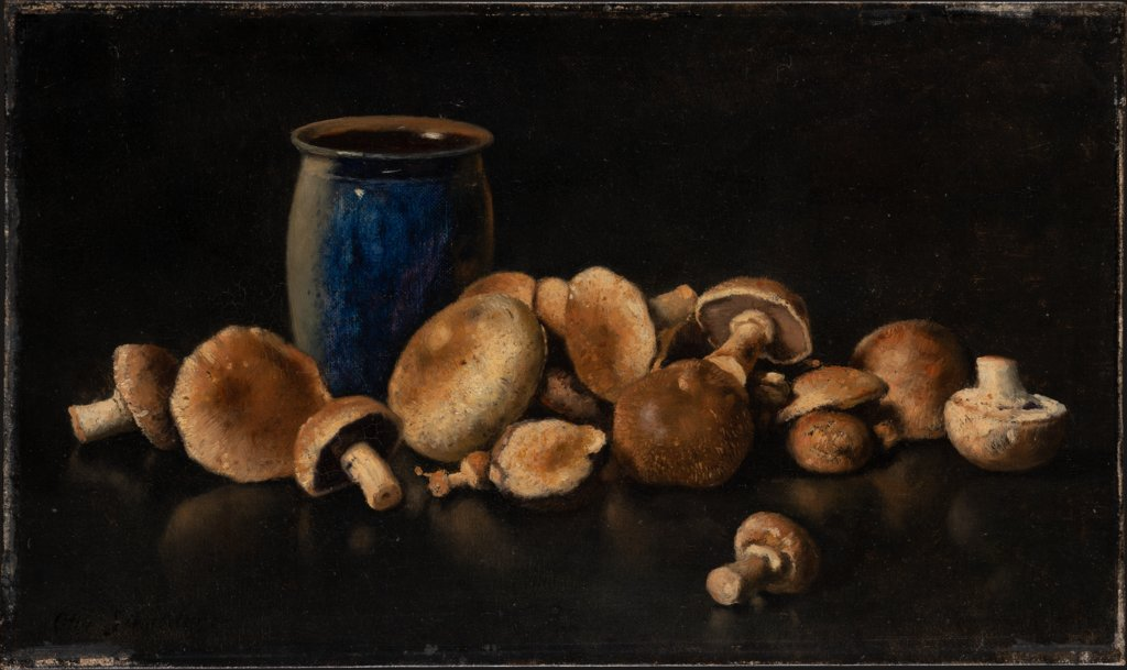 Still Life with Blue Vase and Mushrooms, Otto Scholderer