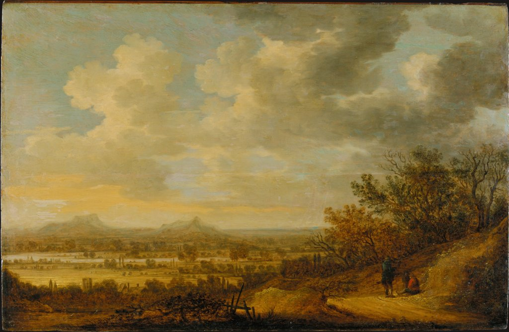 River Landscape in the Evening with Resting Wanderers, Johannes Pietersz. Schoeff