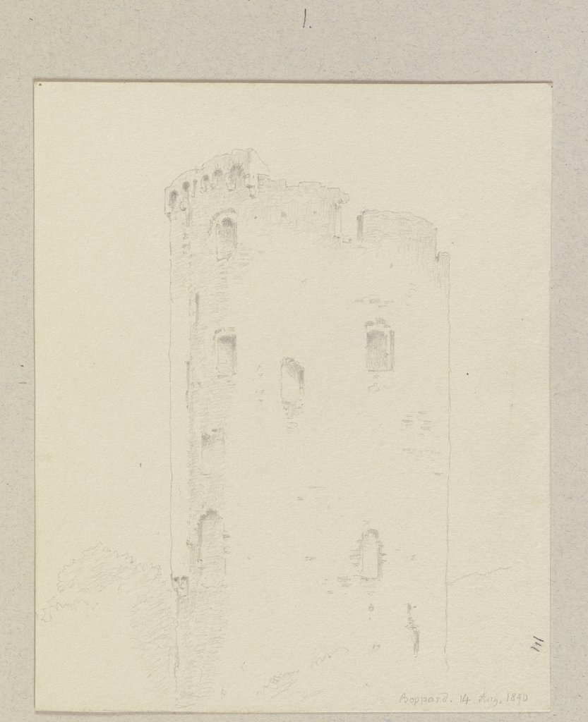 Tower ruin in Boppard, Carl Theodor Reiffenstein