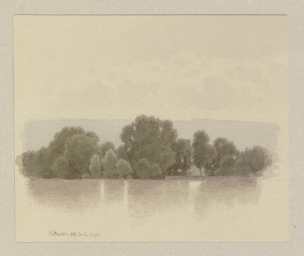 Island in the Rhine near Eltville, Carl Theodor Reiffenstein