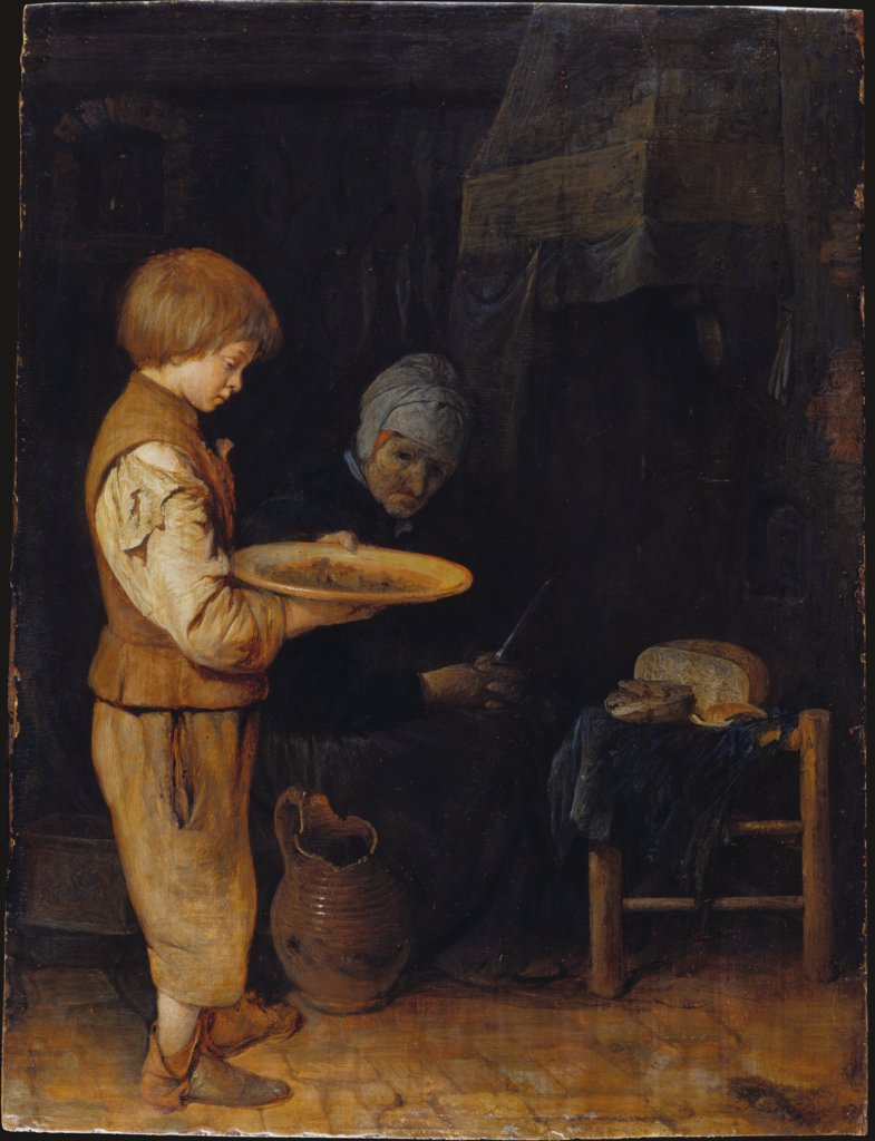 Old Woman and Boy Take a Modest Meal, Gerard ter Borch the Younger