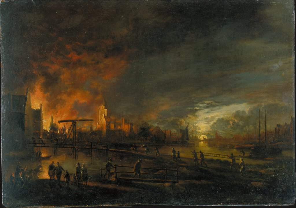 Nocturnal Fire in a Dutch City, style of Aert van der Neer