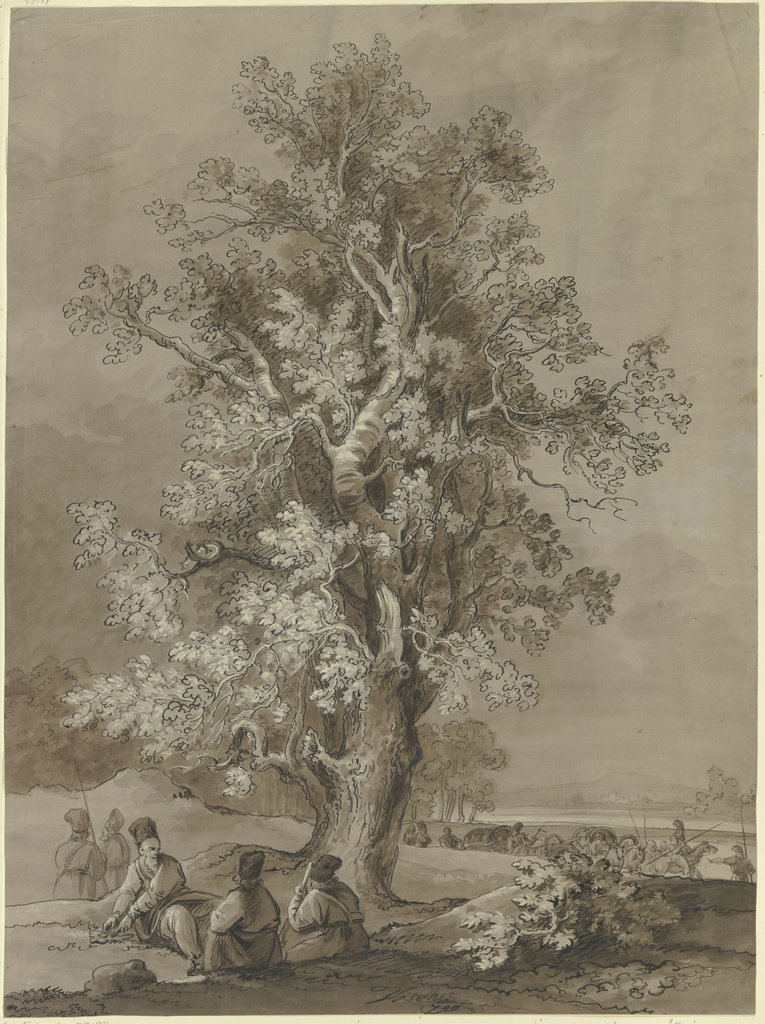 Old tree with camping men, Josef Fischer