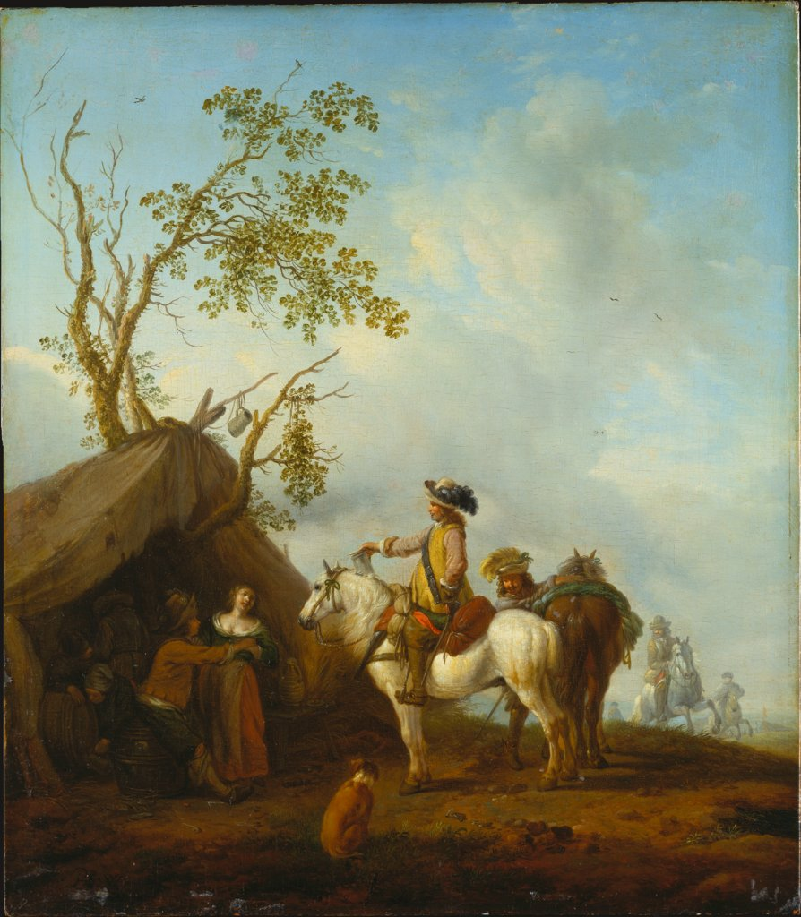 Horsemen before a Camp Follower's Tent, copy after Philips Wouwerman