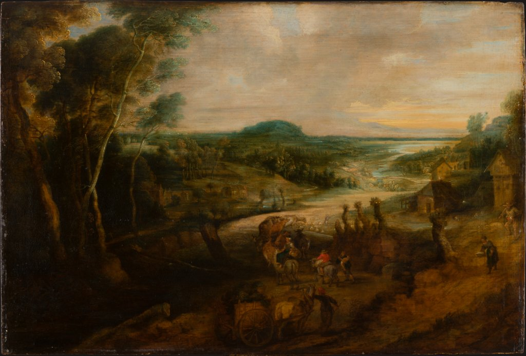 River Landscape with Peasants on the Way to Market, Lucas van Uden