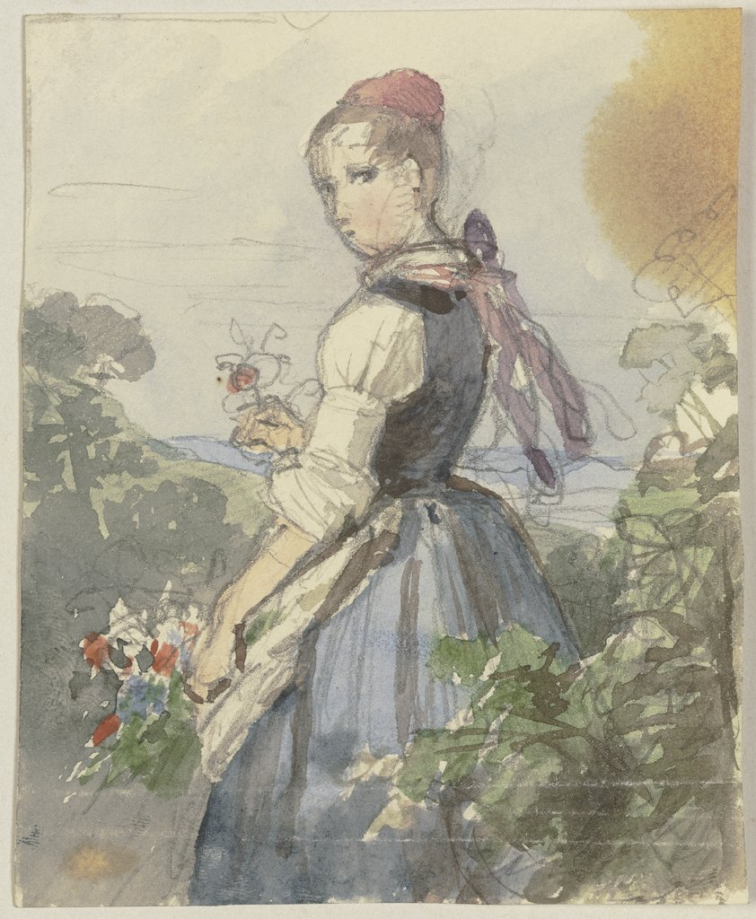 Farm girl in the garden, Jakob Becker
