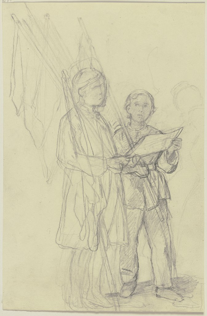 Two boys with flags, Jakob Becker