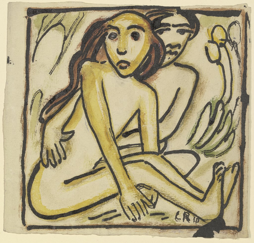 Sitting couple (nudes), Christian Rohlfs