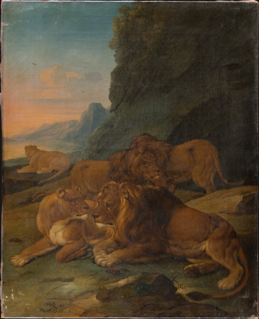 Landscape with a Lion Family, Johann Melchior Roos