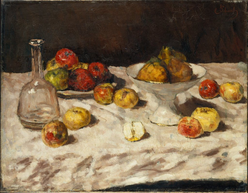 Still Life with Apples, Pears and a Carafe, Carl Schuch