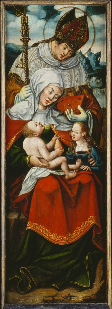 St Anne, the Virgin and Child with a Bishop Saint left wing of an altarpiece, Anton Woensam von Worms  succession