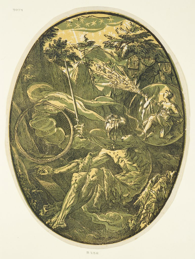 Demogorgon in the Cave of Eternity, from the Series 'Demogorgon and the Deities', Hendrick Goltzius