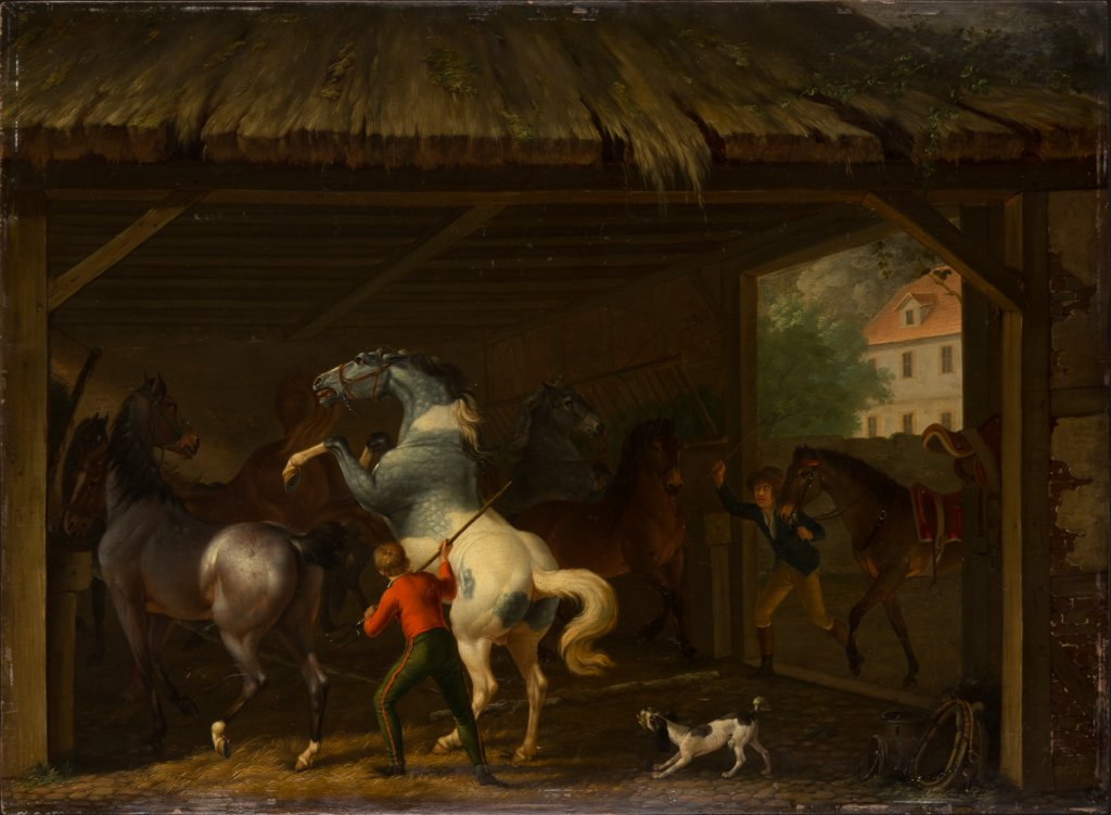 Bolting Horse in the Stable, Johann Georg Pforr