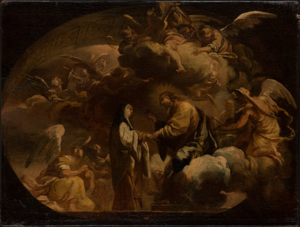 Ceiling design: Christ Handing a Nail (?) to a Nun, Italian Master 18th century