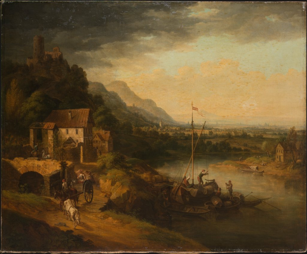 River Landscape with Barge, Christian Georg Schütz the Elder  Umkreis