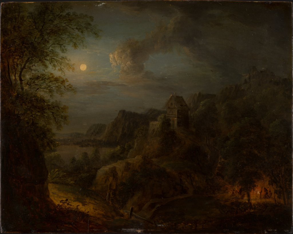 Landscape with Full Moon, Johann Georg Trautmann
